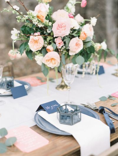 Blueberry themed wedding table: http://www.stylemepretty.com/canada-weddings/british-columbia/2014/06/25/summer-inspired-wedding-shoot-in-the-okanagan-valley/   Photography: Christie Graham - http://www.christiegrahamphotography.com/