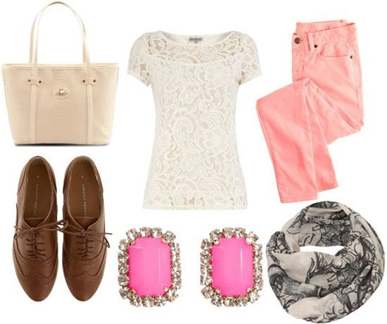 preppy chic look: Coral Jeans Outfits, Lace Tops, Collegefashion Net, Colors Jeans, Oxfords Shoes, Oxfords Outfits, Outfits With Oxfords Tops, Fashion Tips, Pink Jeans
