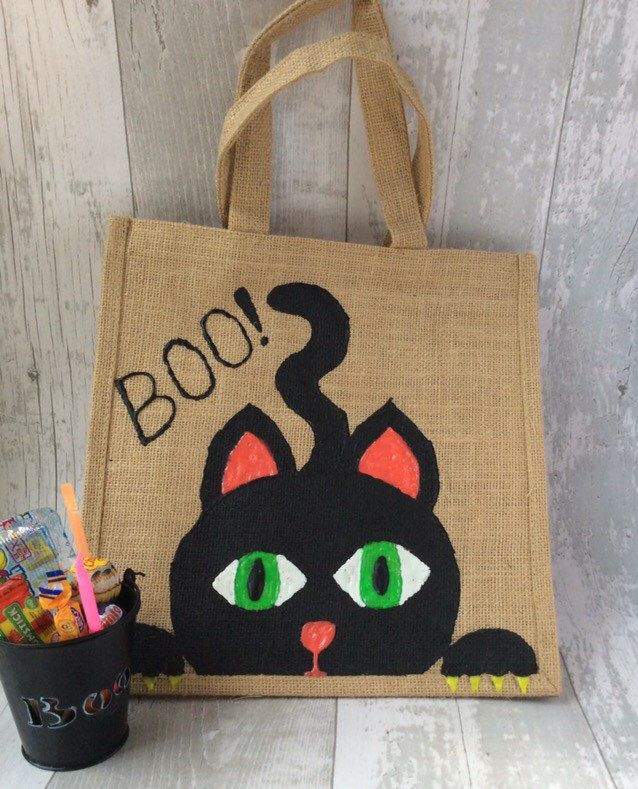 Trick or Treat Bag, Halloween, Glow in the Dark, Black Cat, Personalised, Boo, Children, Kids, Autumn, Fall, Fun, Cute - pinned by pin4etsy.com