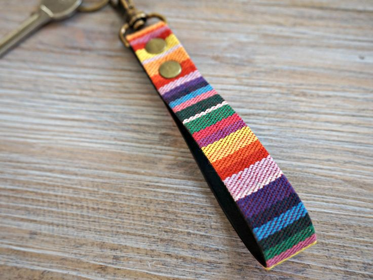 Rainbow Stripe KeyFob - Rainbow Ribbon Keyring - Aztec Tribal Unique Key Chain - Wristlet Key Fob with Lobster Clips and Split Ring by theWatermelonDesign on Etsy
