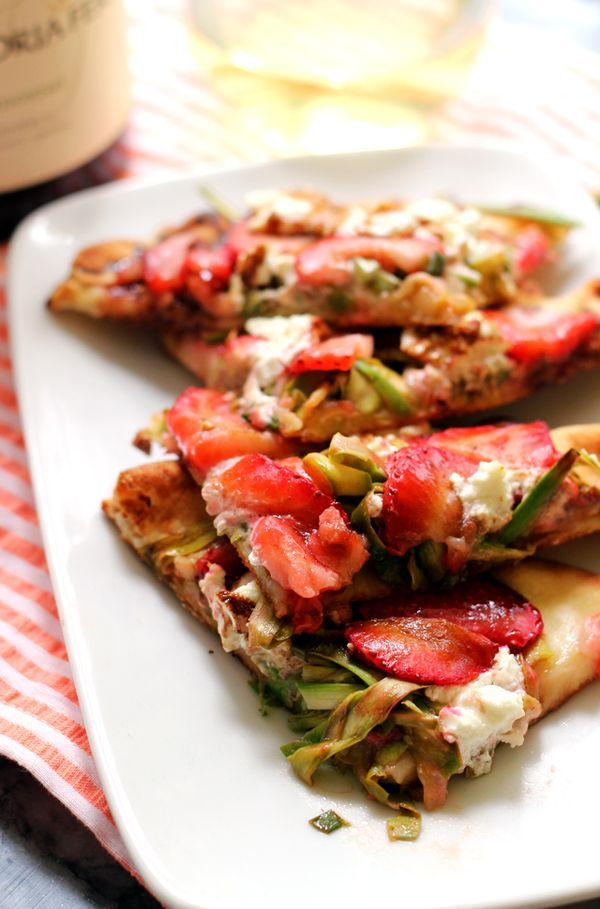 Shaved Asparagus, Strawberry, and Goat Cheese Flatbreads