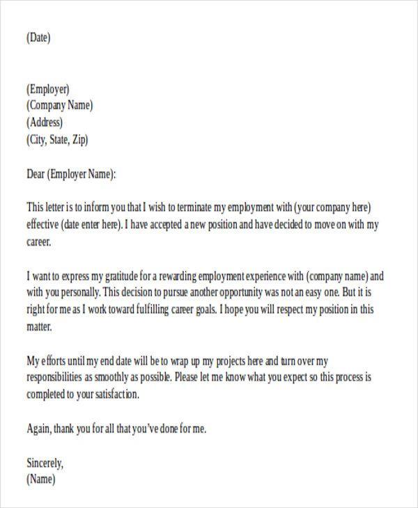 Valid Resignation Letter Sample Doc For You | LetterBuis.Com ...