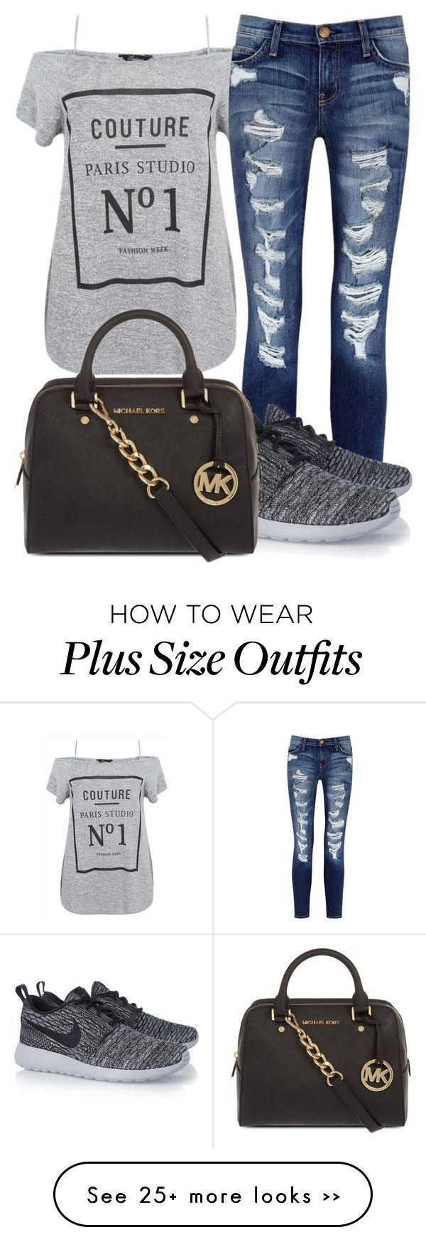 """Got some new ink -BTA"" by nikikaren on Polyvore featuring Current/Elliott, NIKE and MICHAEL Michael Kors"
