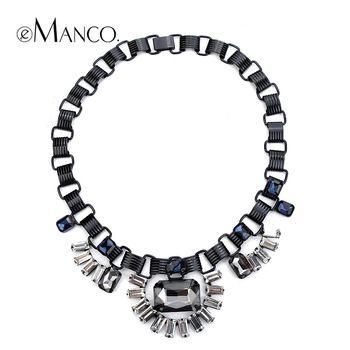 Черные камни кристалл подвески мода с короткой цепью ожерелье eManco 2015 старинные заявление ожерелья женщины ювелирные изделия NL08042