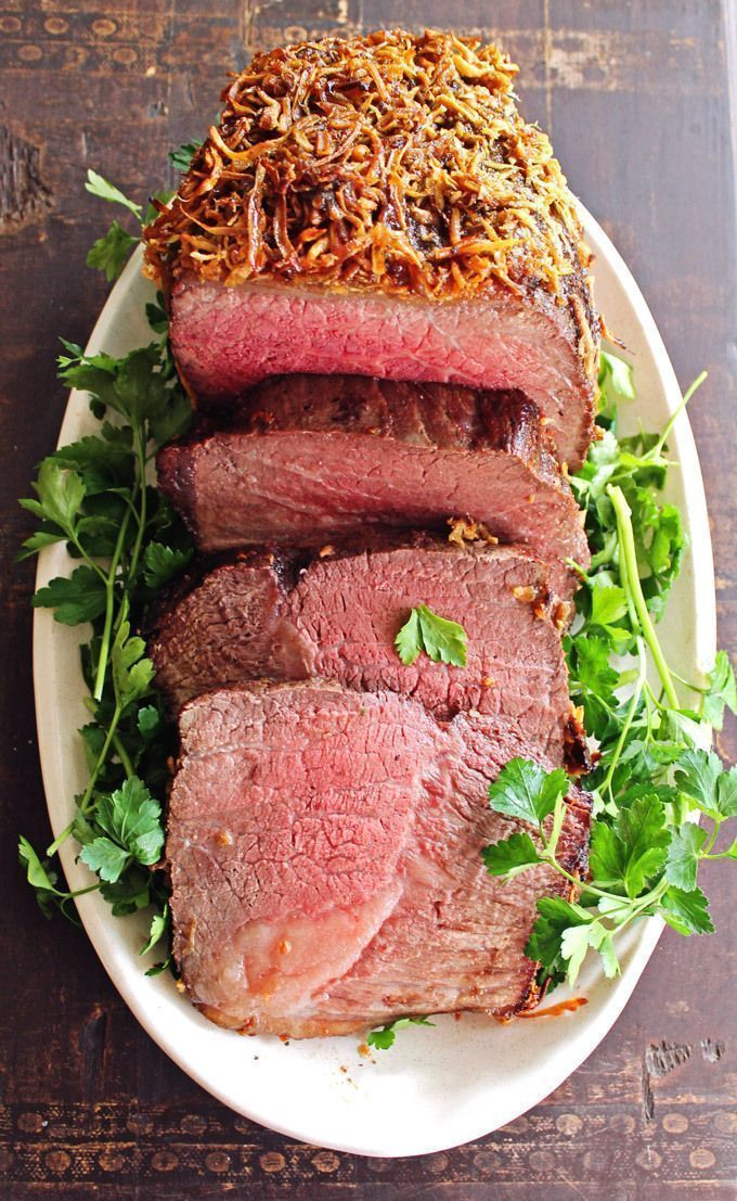 Brown sugar horseradish crusted roast beef recipe! Tender and delicious roast beef with a sweet and spicy fresh horseradish crust and homemade horseradish mustard sauce. Delicious!