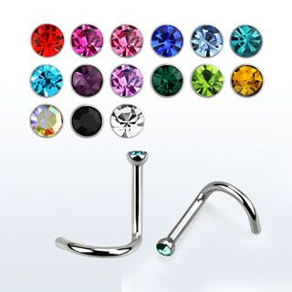 Nose bars with color crystal. Barra para piercing de nariz con cristal de color.