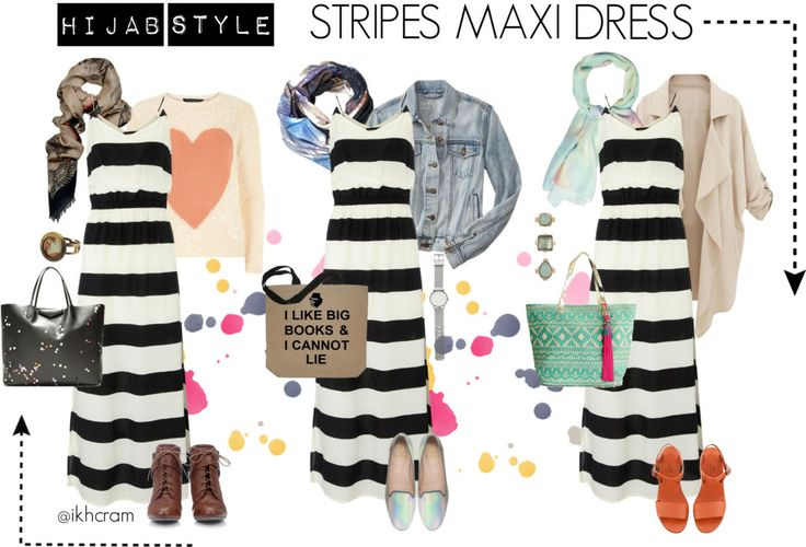Stripes maxi dress : covered up with hijab doesnt mean cant unleashed your inner stylish!