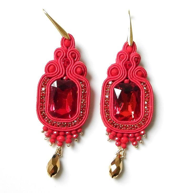 Orecchini soutache, Nuove Fatte a mano,Fashion Gioielli,Colore Rosso di ClassArte su Etsy