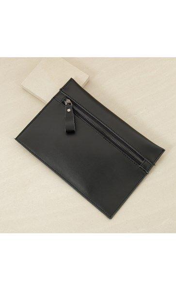 Leather Flat Zip Top Clutch