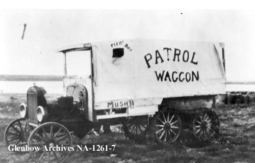 1929 Snowmobile owned by Royal Canadian Mounted Police, Bernard Harbour, Northwest Territories (NWT). Courtesy Glenbow Archives