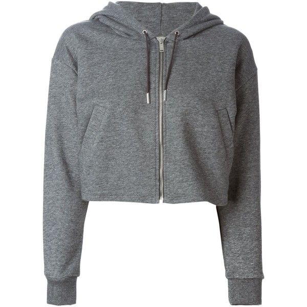 Golden Goose Deluxe Brand cropped zipped hoodie ($320) ❤ liked on Polyvore featuring tops, hoodies, outerwear, jackets, sweaters, grey, gray hoodie, grey zip hoodie, grey hooded sweatshirt y cotton zip hoodie