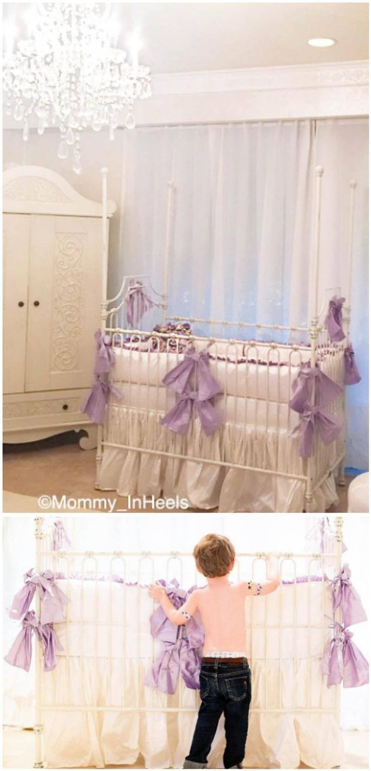 Lavender Bows Sets Off This Elegant All White Nursery, Adding Just A Hint  Of Color