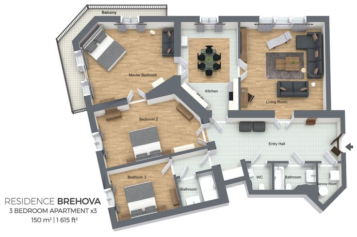 Floorplan of a three bedroom apartment Type 3 in Residence Brehova