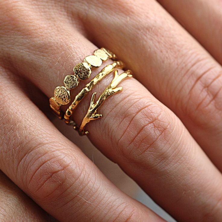 Gold stacking rings: