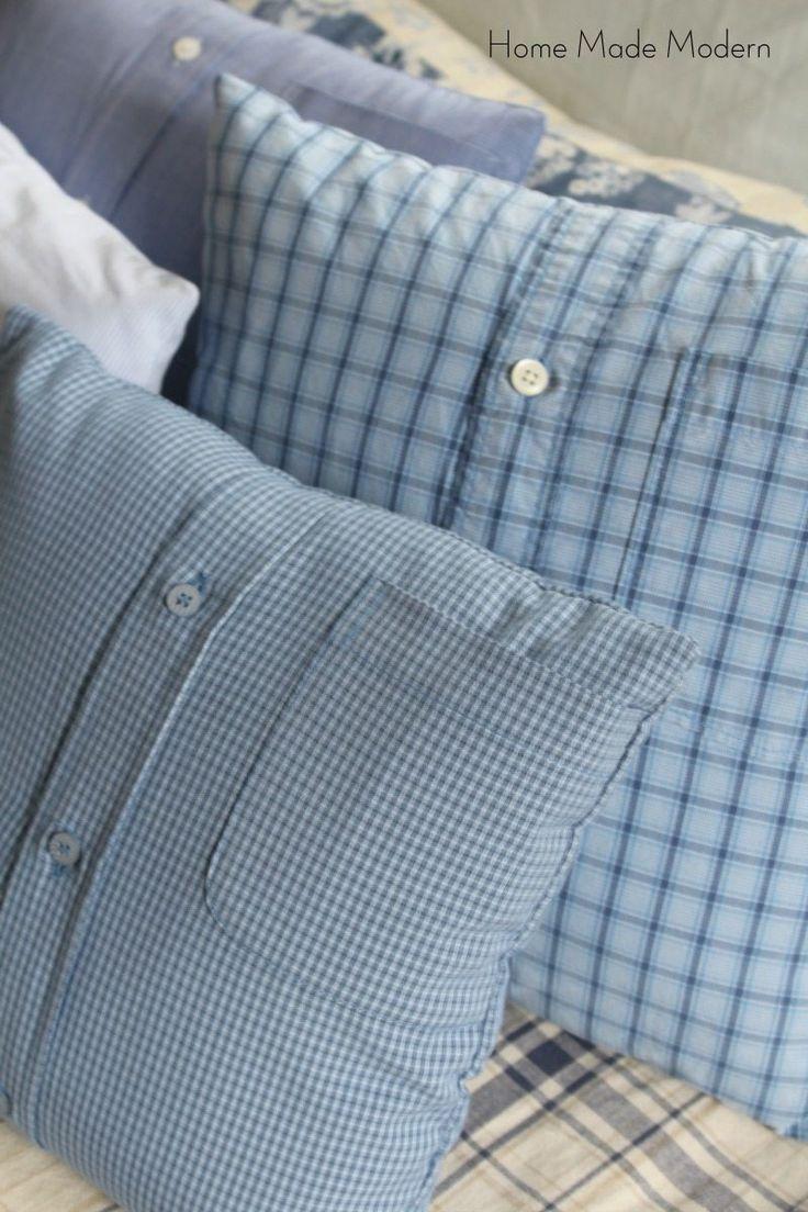 Make 4 Shirt Pillows from Men\u0027s Shirts in Less Than 1 Hour & 25+ unique Make pillows ideas on Pinterest   Cushions to make Diy ... pillowsntoast.com
