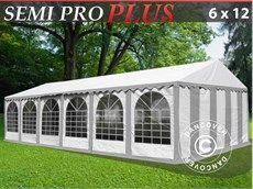 Marquee tent Semi PRO Plus 6x12 m PVC grey/white
