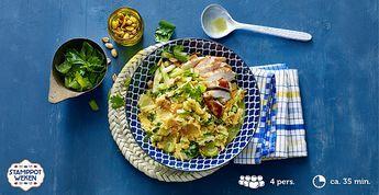 Recept voor Thaise groene kool #stamppot met currysaus, pinda's en kip #Lidl #Winter
