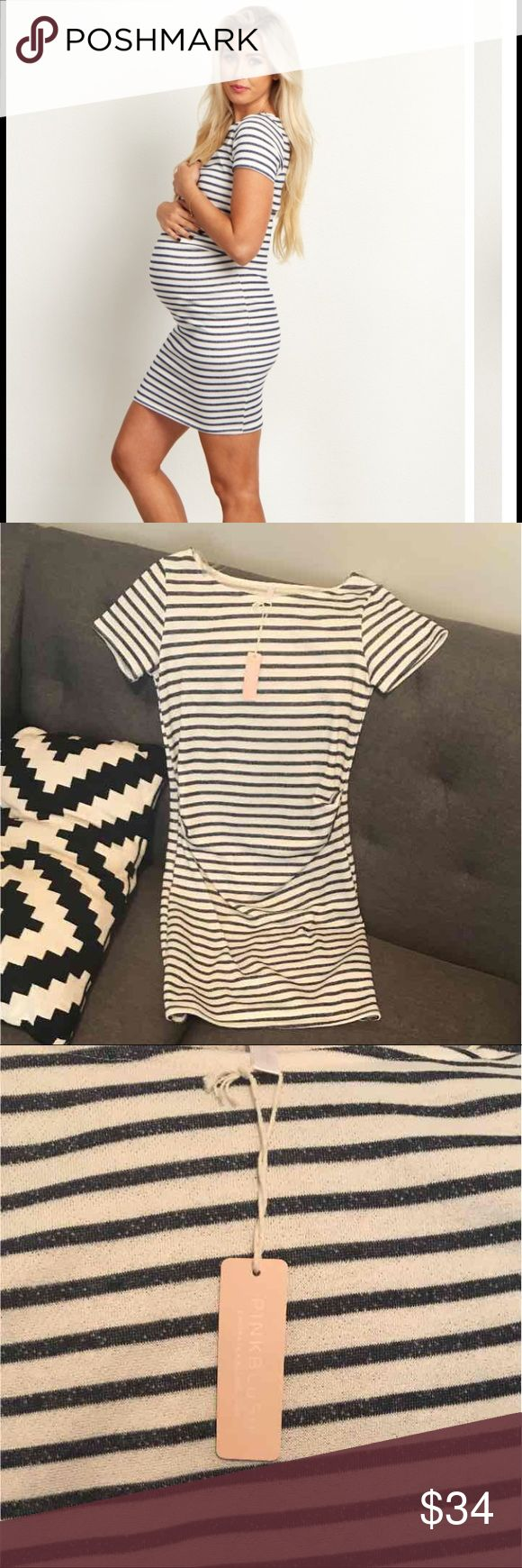 Pink blush Navy stripe maternity dress NWT in perfect condition. Never worn. Dresses Mini