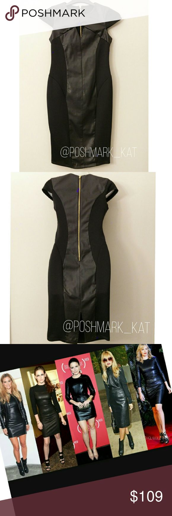 Leatherette Keyhole Dress Stunning Leatherette Dress  Color: Black Available sizes: S,M,L,XL  -Leatherette/ Bodycon contrast  -Hourglass cutting -Back zipper closure -Stretchable material -Back slit -Cap sleeves Fabulous LBD for fall & winter!  Brand New with tags    Dresses