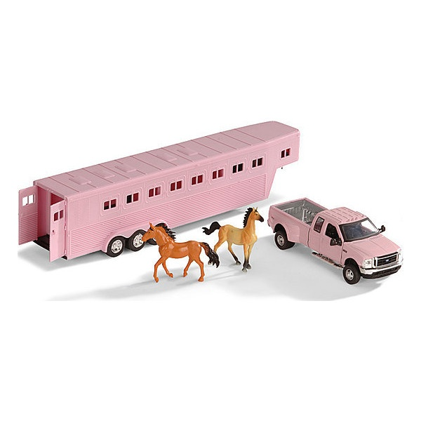 Trat Er Toy : Girls pink ford truck horse trailer toy set found on