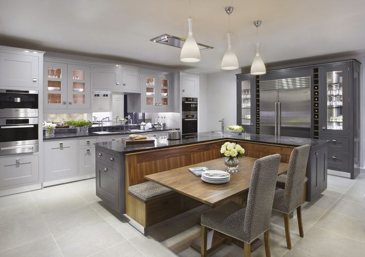 The Argento kitchen, painted in shades from gunmental to pale grey