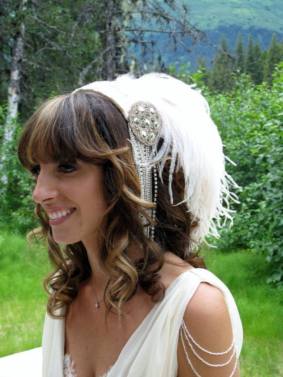 Winged Bride High glamour feathered bridal by ArtisticRite on Etsy, $385.00