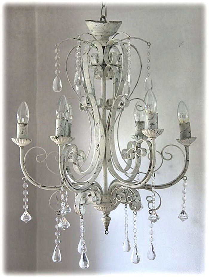 Kronleuchter Lüster antik shabby Landhaus weiß Eisen Metall Lampe Vintage neu .
