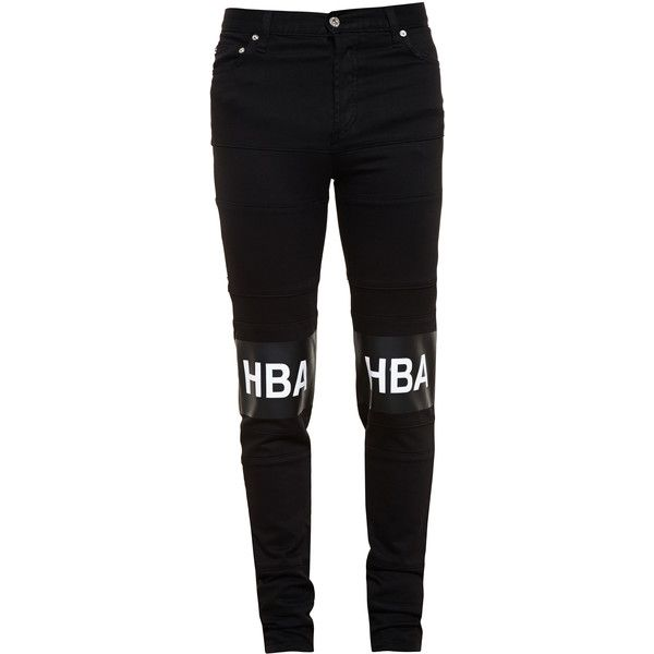 HOOD BY AIR Slim Jeans with Logo Print ($185) ❤ liked on Polyvore featuring mens, men's clothing, men's jeans and bottoms