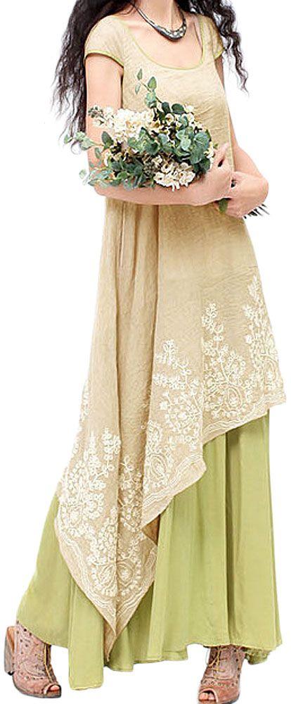 US$27.79 Vintage Embroidery Layered Irregular Hem Elegant Patchwork Women Dress