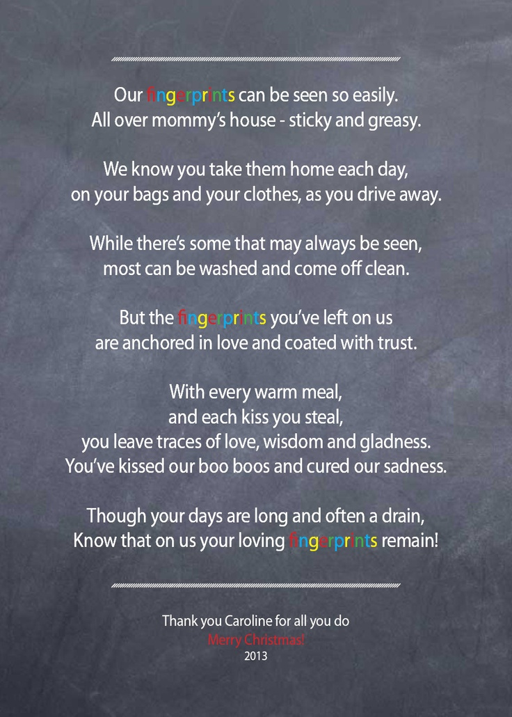 Nanny / Babysitter thank you poem - Fingerprints - on chalkboard background - PRINTABLE. $8.50, via Etsy.