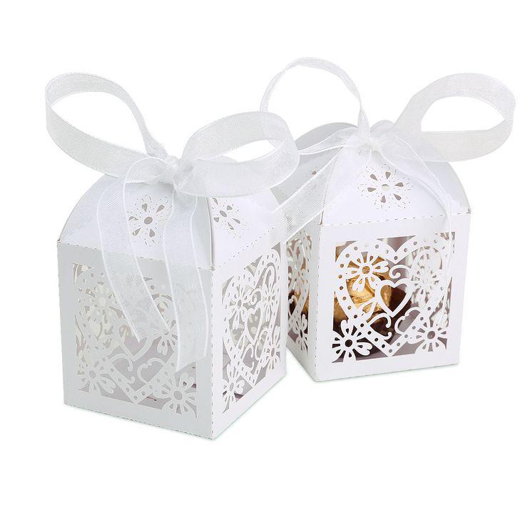 25 Boîte à dragées Coeur Fleur pour Mariage