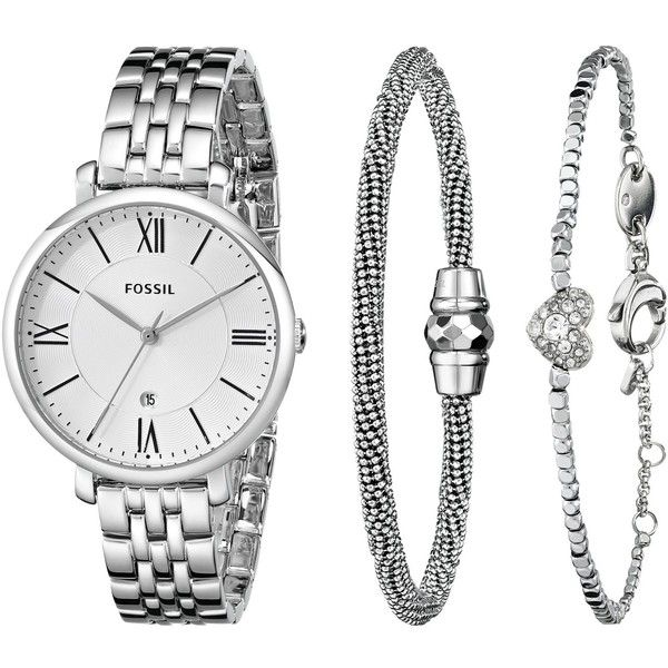 Fossil Women's ES3698SET Jacqueline Three Hand Stainless Steel Watch... (€130) ❤ liked on Polyvore featuring jewelry, watches, analog wrist watch, fossil jewelry, analog watches, stainless steel watches and silver tone jewelry