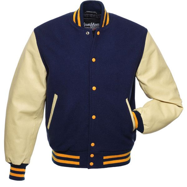 Navy Blue Wool and Cream Leather Letterman Jacket - C146 (285 CAD) ❤ liked on Polyvore featuring outerwear, jackets, patch leather jacket, navy leather jacket, letterman jackets, leather jackets and varsity jacket