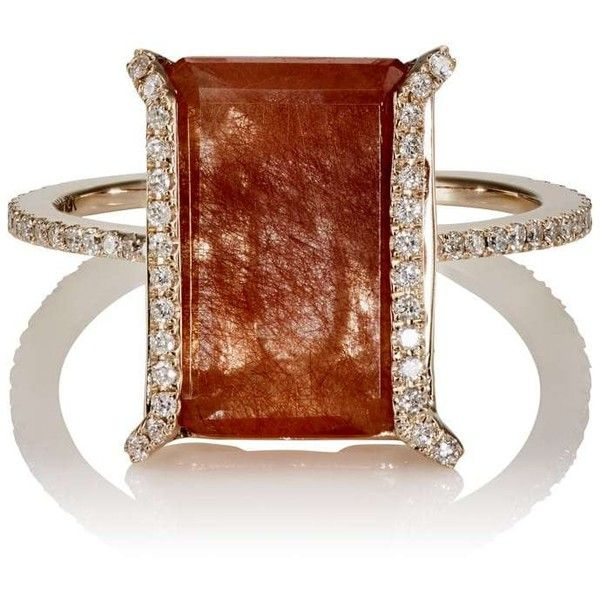 Monique Péan Women's White Diamond & Rutile Ring (31,875 SAR) ❤ liked on Polyvore featuring jewelry, rings, no color, hand crafted rings, band rings, monique pean rings, 18 karat gold jewelry and orange ring
