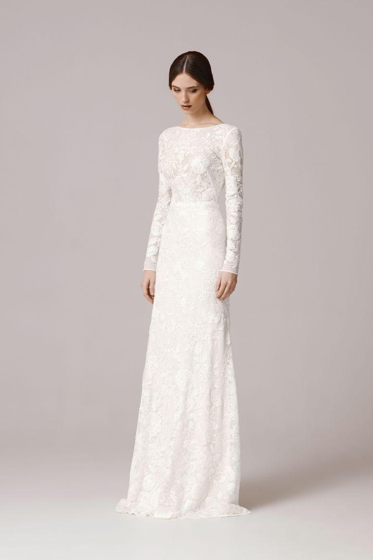 zartes Brautkleid mit langen Ärmeln, Spitze, Hochzeitskleid