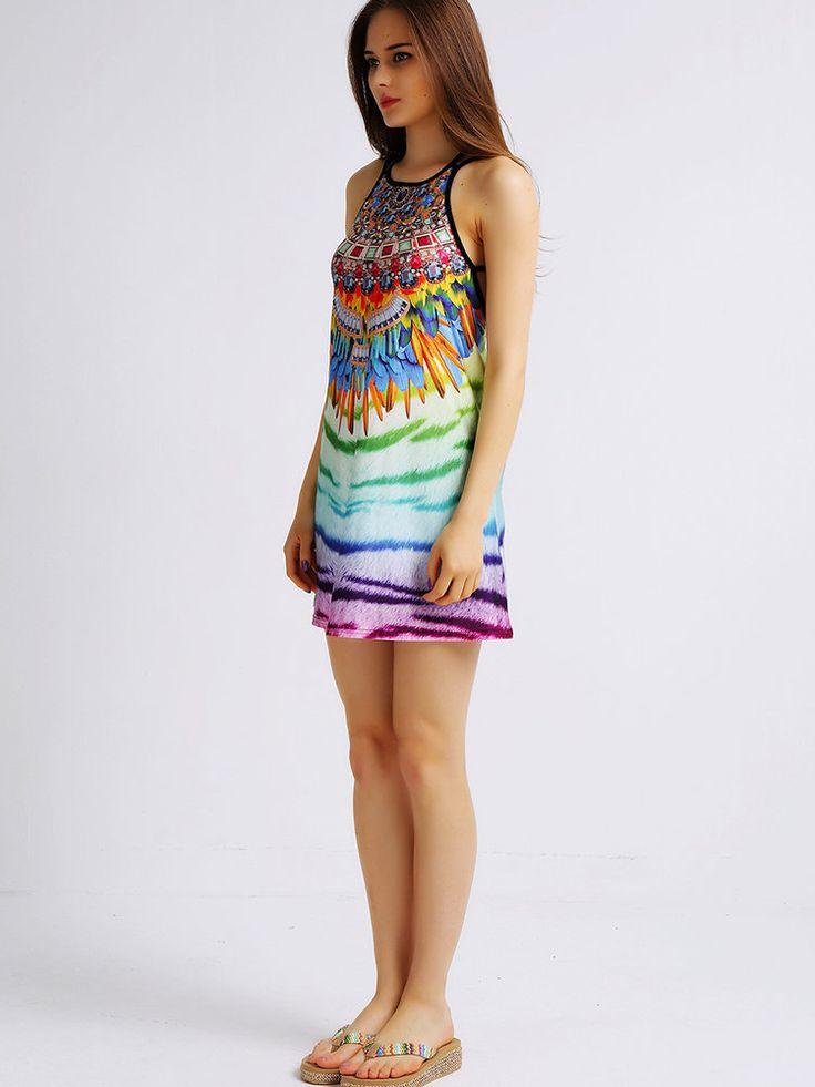 Sexy Women Sleeveless Gradient Color Printed Backless Mini Dresses at Banggood