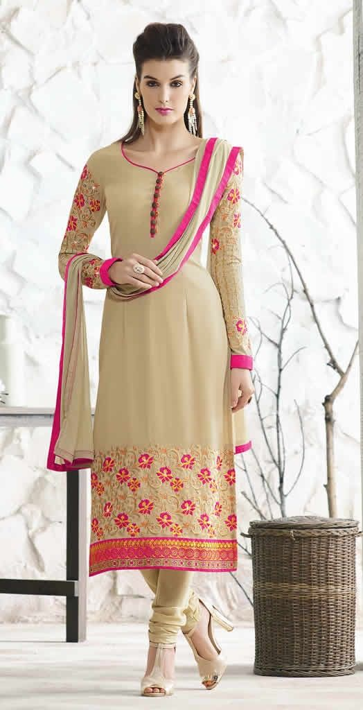 Beige Colour Georgette Embroidered Semi Stitched  Party Wear Salwar Suit