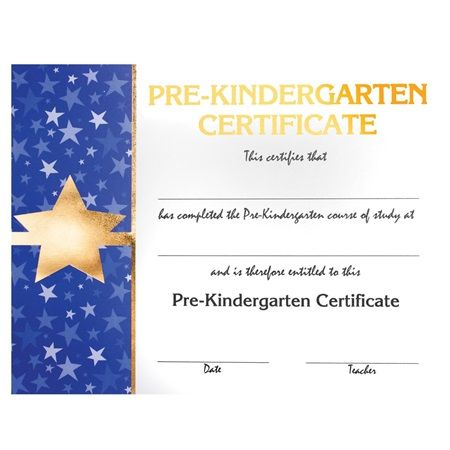 Premium Foil Kindergarten Diploma - Star - Coordinate your star graduation theme with these raised print and textured foil accents premium diplomas for an extra-special award for your Kindergarten graduates.