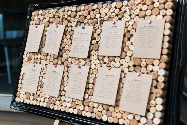 Cork Seating Plan Table Chart Bohemian Vineyard Wedding http://www.gemmagiorgio.com/