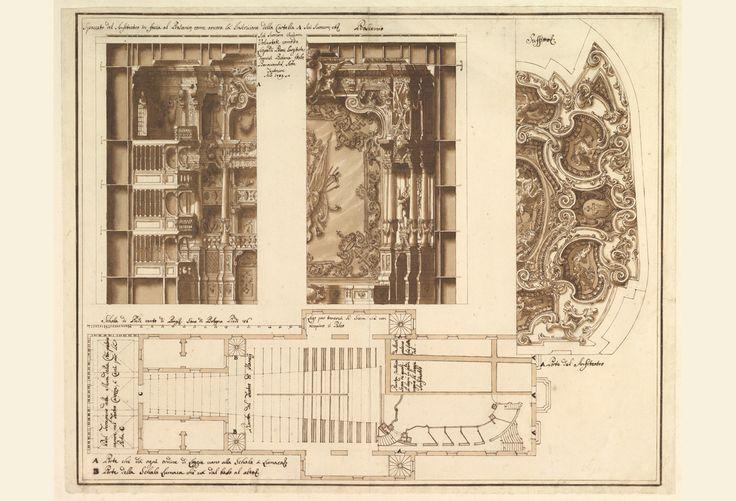 1707-1709 FRANCESCO GALLI BIBIENA OPÉRA DE NANCY COUPE TRANSVERSALE, PLAFOND ET PLAN DE REZ-DE-CHAUSSÉE METROPOLITAN MUSEUM