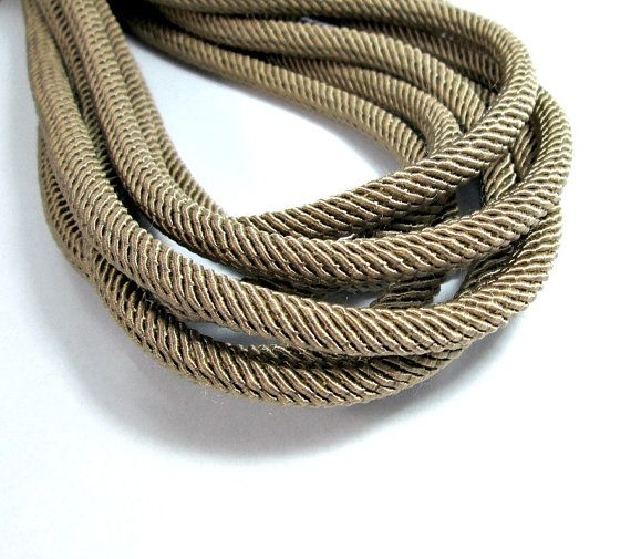 Rib silk cord 6mm brown cord  1m by OandN on Etsy  #cord #rope #craftsupplies #jewelrymaking