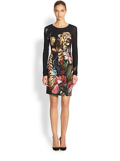 Roberto Cavalli - Floral Tiger Print Dress