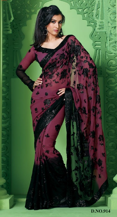 Multi Color Shimmer Georgette Sarees