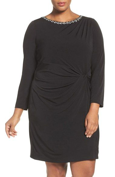 Ellen Tracy Embellished Twist Front Jersey Dress (Plus Size) available at #Nordstrom