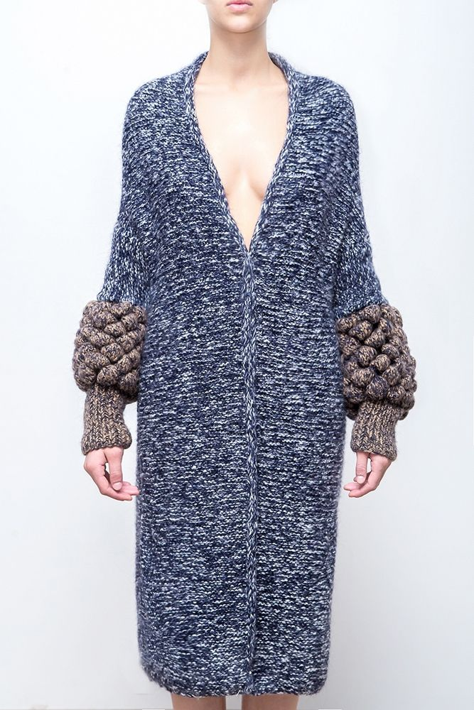 Hydrangea cardigan by LALO Cardigans. Blue melange yarn, structured sleeves, straight silhoutte