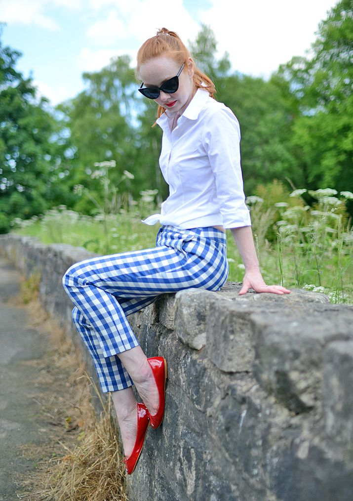 50s style red white and blue summer outfit