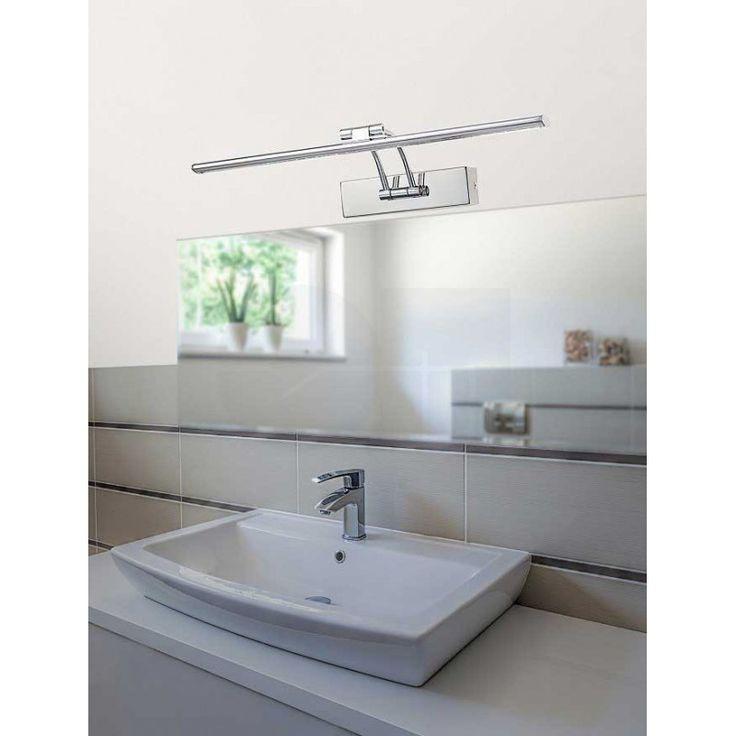 Απλίκα φωτιστικό τοίχου για μπάνιο, σε μοντέρνο στυλ, τεχνολογίας LED, κατασκευασμένο μέταλλο σε χρώμιο με ρυθμιζόμενο βραχίονα. Από την Nova Luce.