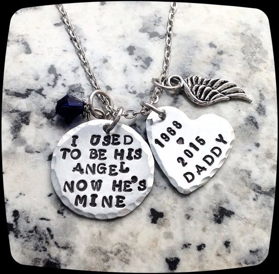Memorial Necklace, I used to be his angel now he's mine, Remembrance Gift Necklace, Loss of Father, Funeral Gift