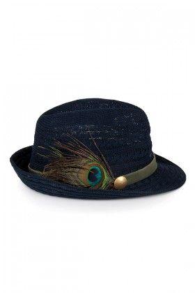 OZZ Hats Tavuskuşu Detaylı Lacivert Hasır Şapka Lidyana