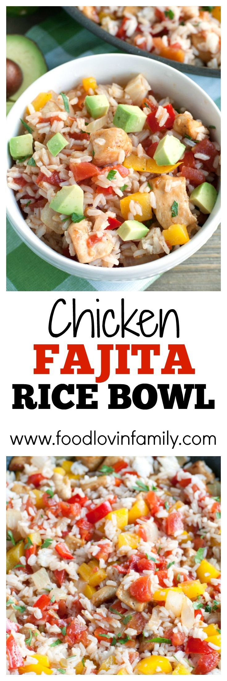 Chicken Fajita Rice Bowl - fajita seasoned chicken mixed with peppers, onions, RO*TEL and cilantro lime rice. A bold and flavorful meal the family will love. #ad #31DaysWithRotel @ro_tel @walmart @RO*TEL @ro_tel #Rotel @roteltomatoes